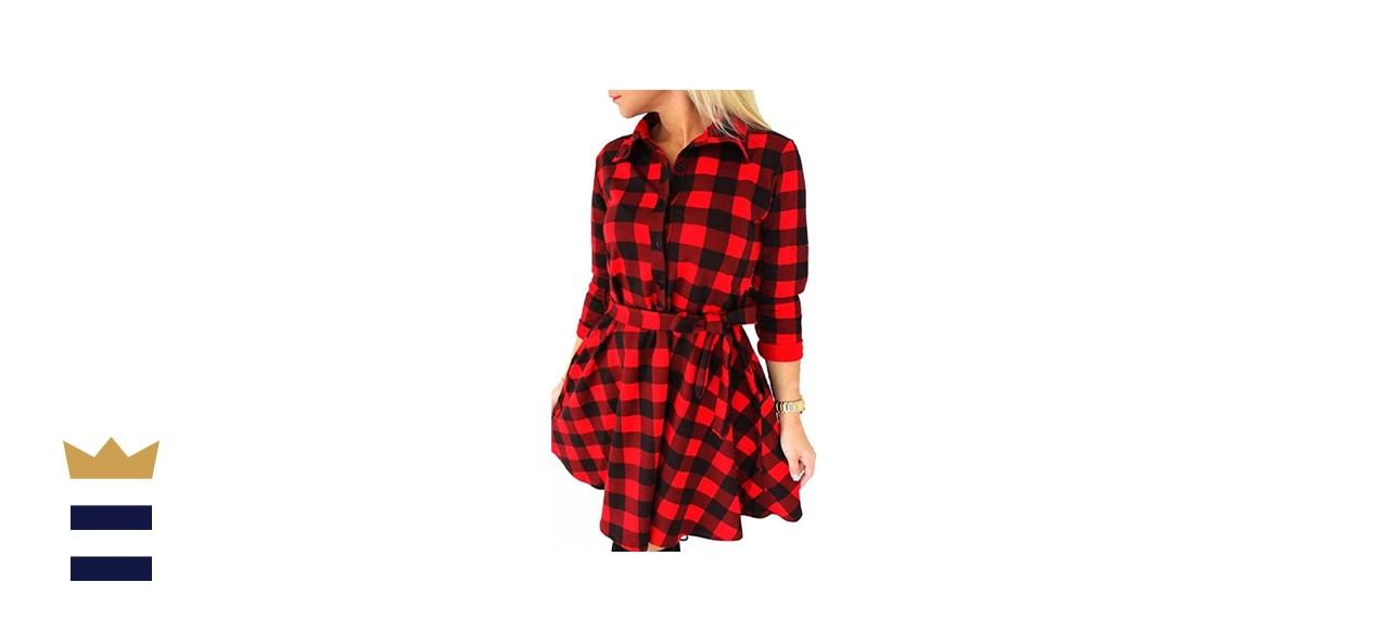 Fancyinn Long Sleeve Plaid Casual Dress