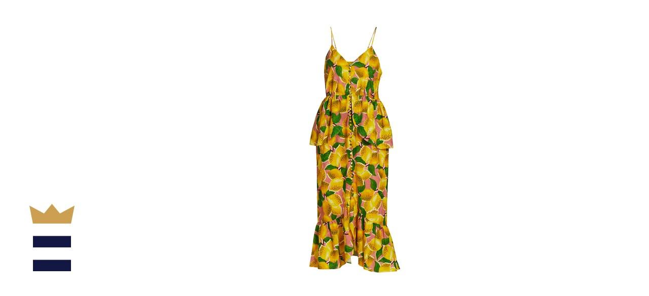 Farm Rio Fresh Lemons Ruffle Midi Dress