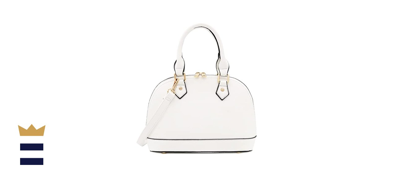 FashionPuzzle Zip-Around Saffiano Classic Dome Satchel