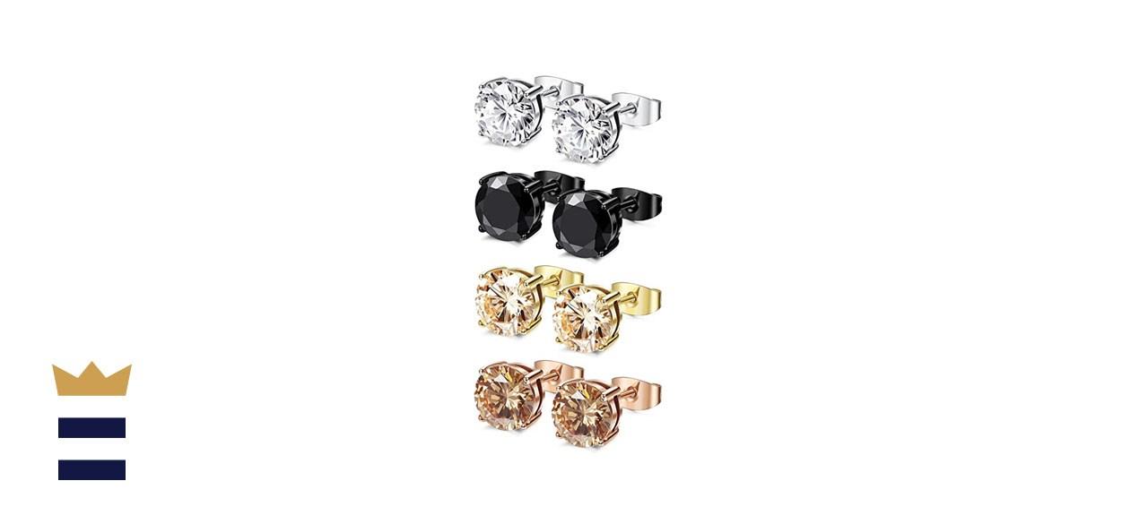 FIBO STEEL Stainless Steel Stud Earrings (4 Pack)