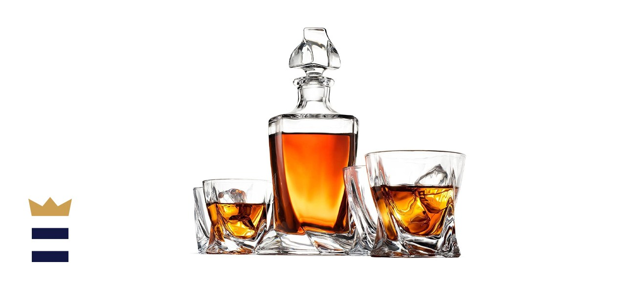 FineDine 5-Piece European-Style Whiskey Decanter and Glasses