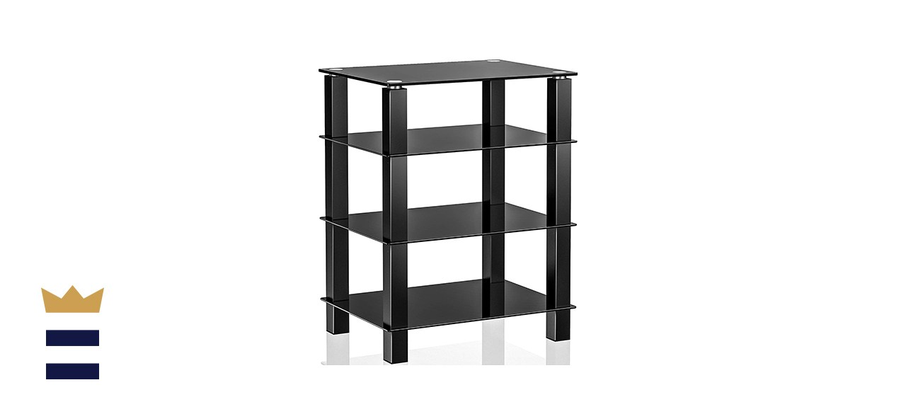 Fitueyes Open Design Media Stand and Audio Tower with Four Glass Shelves