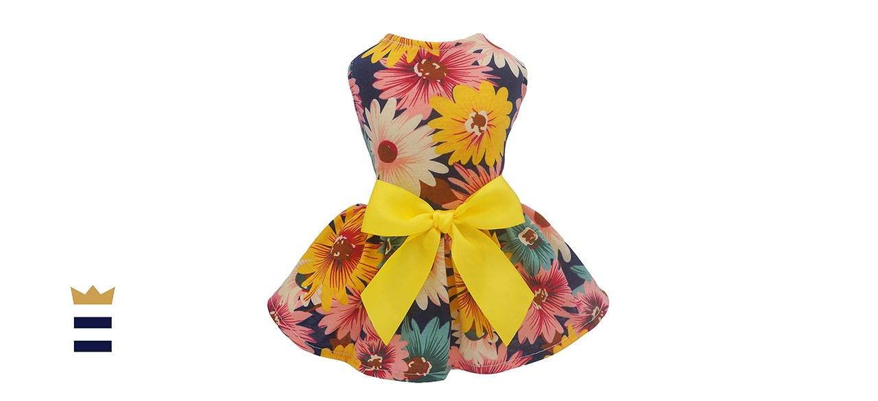 Fitwarm Pet Elegant Floral Ribbon Dog Dress