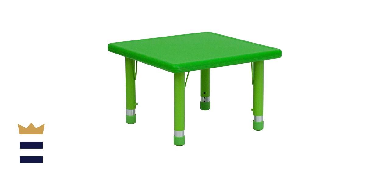 Flash Furniture Green Plastic Height-Adjustable Activity Table