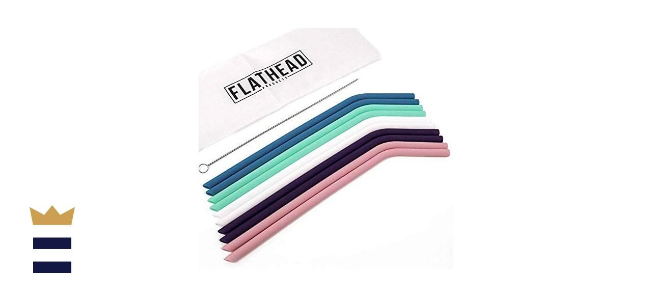 Flathead Bent Reusable Silicone Drinking Straws
