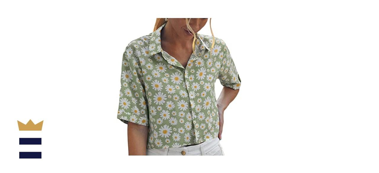 Floerns Women's Short Sleeve Contrast Print Colorblock Button Down Shirt Blouse