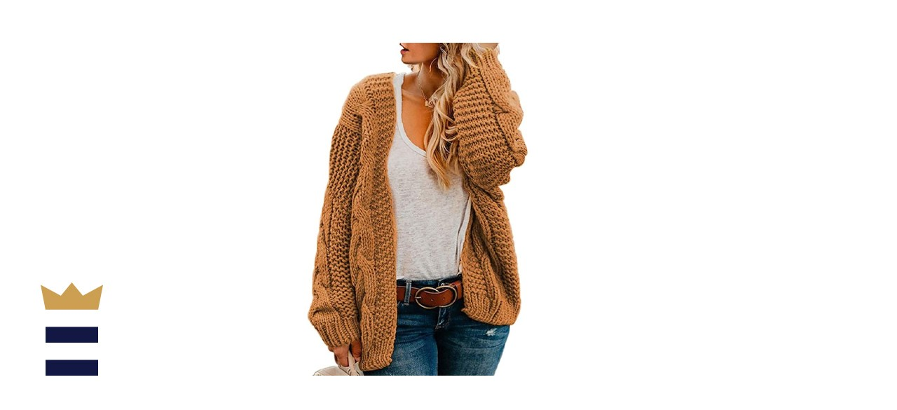 Floretta Women's Loose Knit Plus Size Cardigan