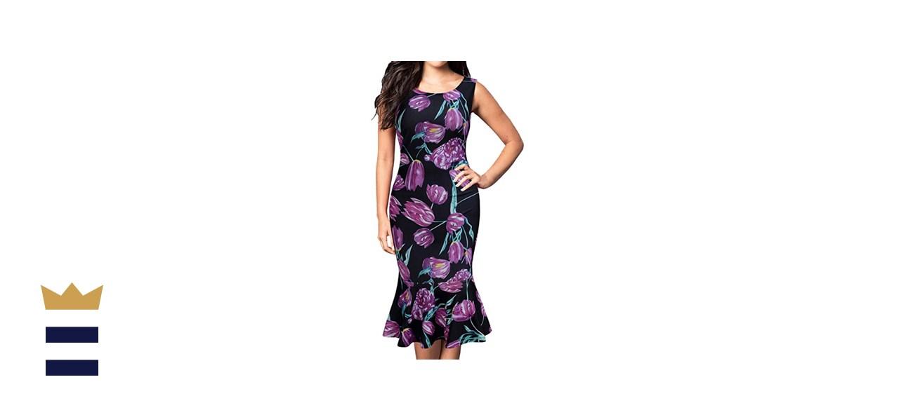 FORTRIC Women Sleeveless Fishtail Floral Summer Dress