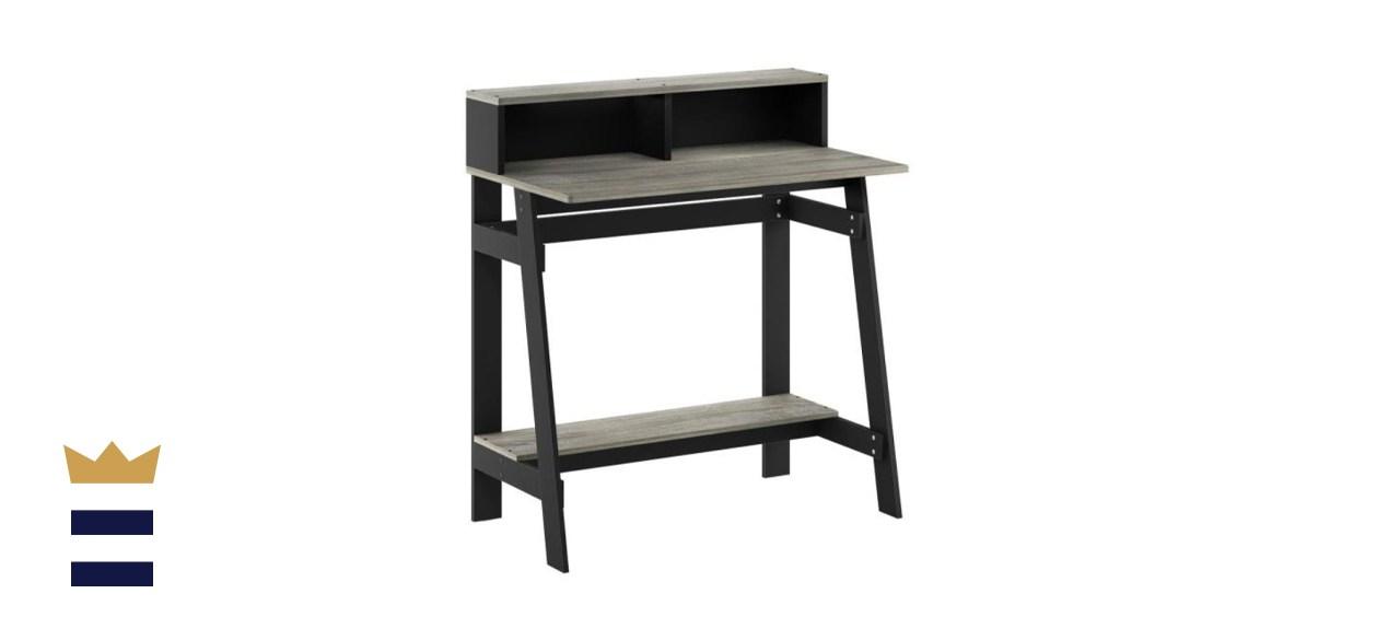 Furinno Rectangular Oak Gary/Black Computer Desk