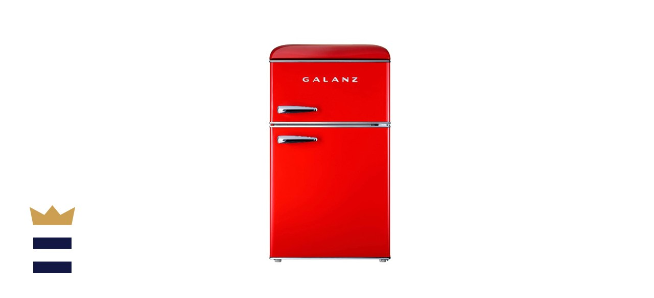 Galanz Retro Compact Refrigerator, Mini Fridge with Dual Doors, Adjustable Mechanical Thermostat with True Freezer, Red