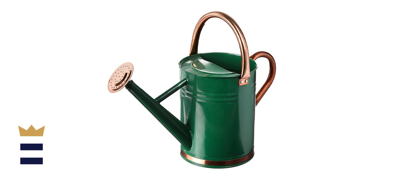 Gardman 8327 Hunter Green Galvanized Steel Watering Can with Copper Accents