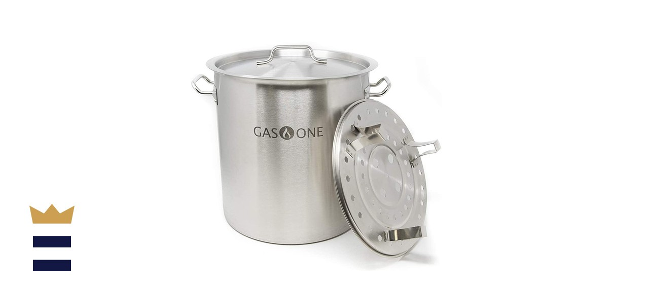 GasOne Stainless Steel Stock Pot with Steamer Rack