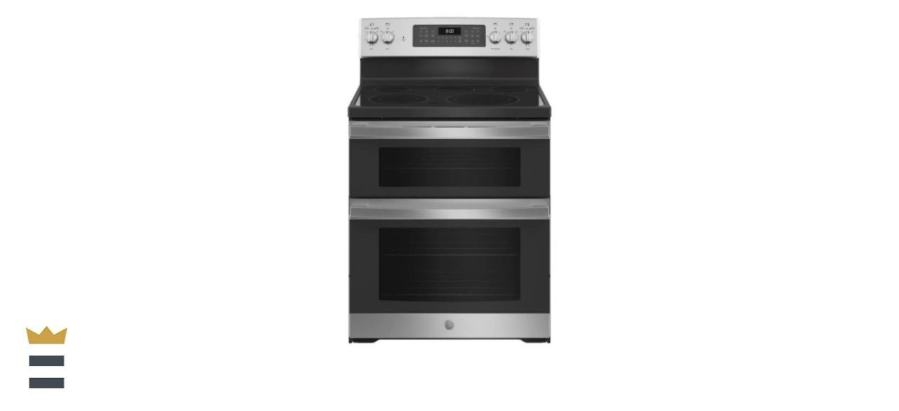 GE 30-Inch 6.6-Cubic Foot Double Oven Electric Range with Steam-Cleaning Convection