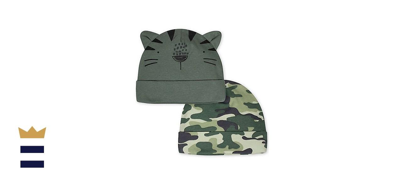 Gerber Newborn 2-Pack Camo Tiger Hats in Green