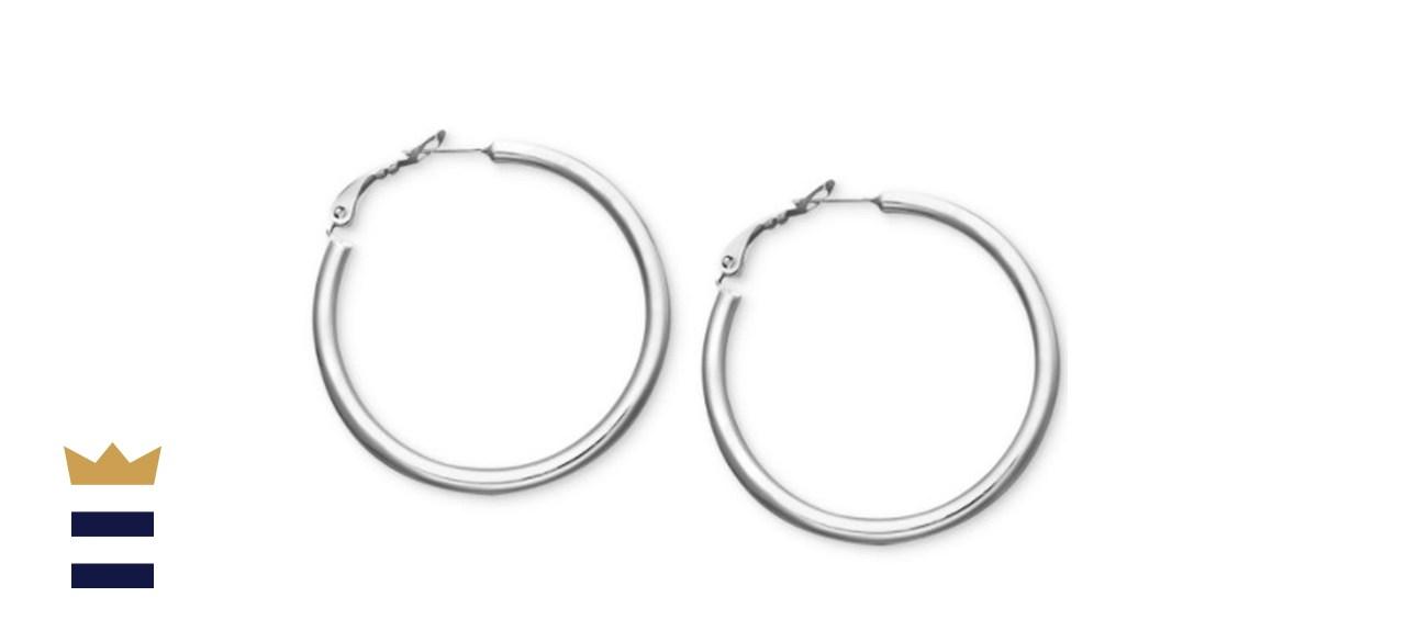 Giani Bernini 1.5-Inch Sterling Silver Tube Hoop Earrings