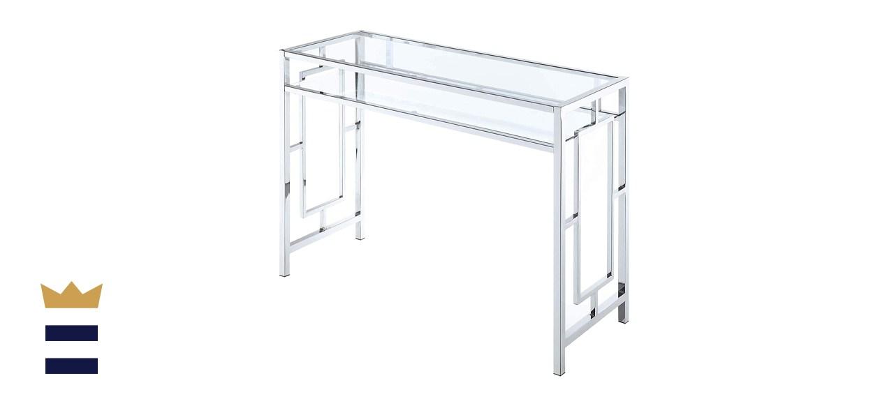 Convenience Concepts Town Square Chrome Desk With Shelf