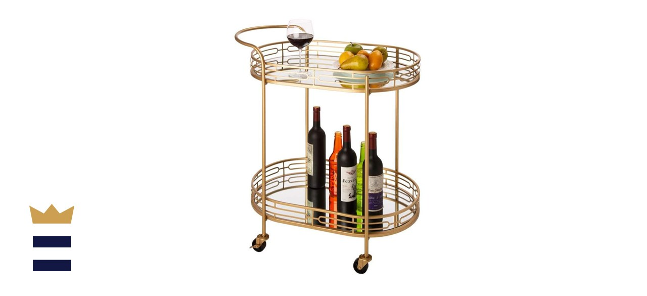Glitzhome Oval Gold Bar Cart with Mirrored Glass