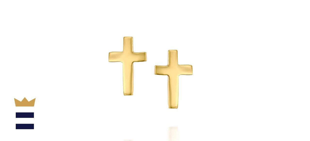 Gold Cross Stud Earrings