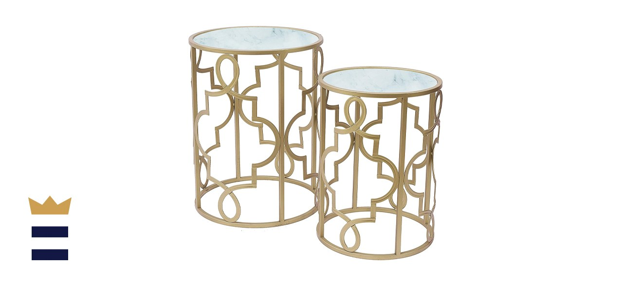 Gold Round Nesting End Side Tables