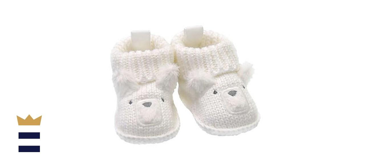 Goldbug Newborn Crochet Knit Bear Bootie in White