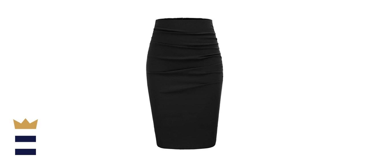 GRACE KARIN Elegant Ruched Knee-Length Pencil Skirt