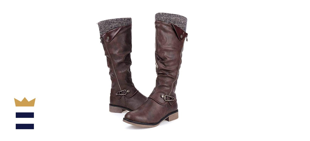 Gracosy Leather Flat Heel Riding Boots