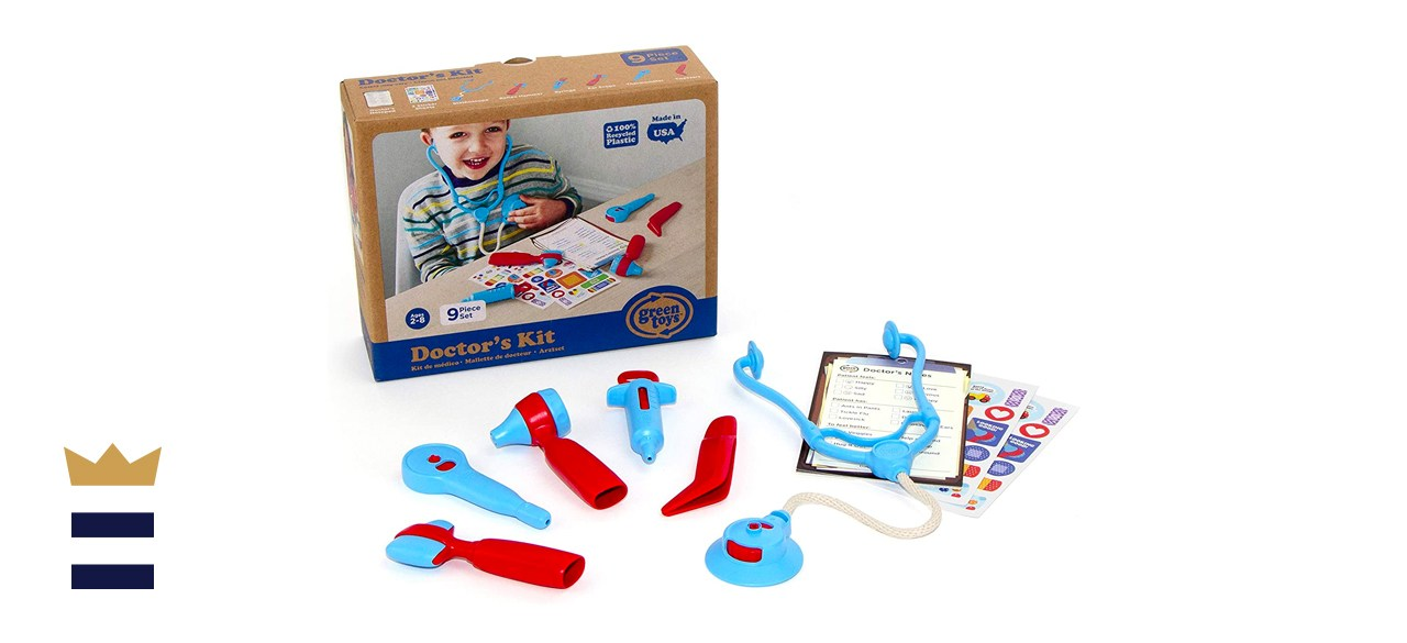 Green Toys Doctor's Kit, Red/Blue - 9 Piece Pretend Play, Motor Skills, Language & Communication Kids Role Play Toy