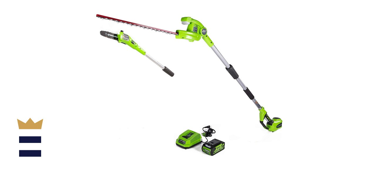 Greenworks 40-volts 8-inch Cordless Pole Saw with Hedge Trimmer Attachment