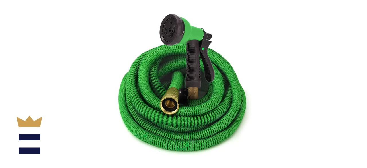GrowGreen 50-Foot Expandable Garden Hose with High-Pressure Nozzle