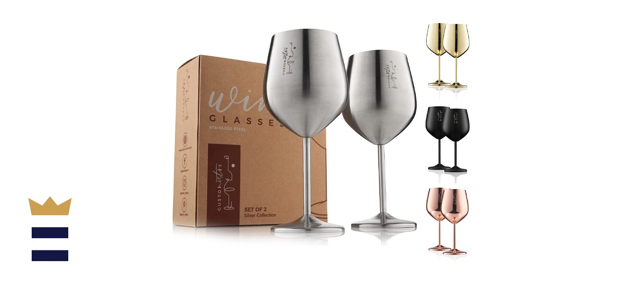 Gusto Nostro Stainless Steel Wine Glasses
