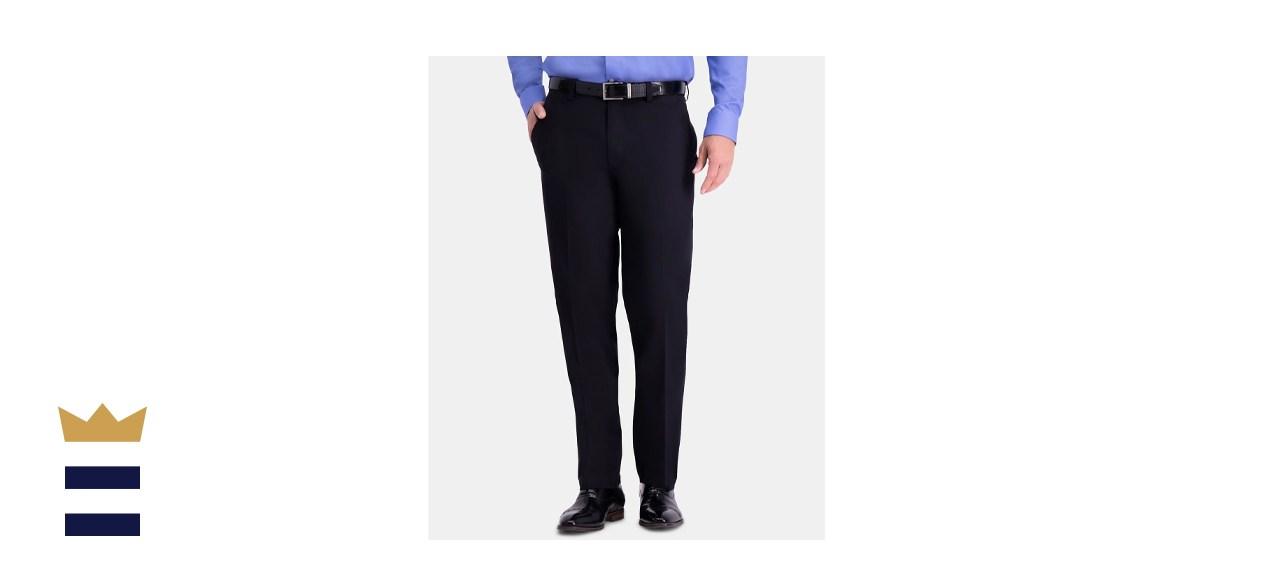 Haggar Men's Premium Comfort Khaki Classic-Fit 2-Way Stretch Flat Front Stretch Pants