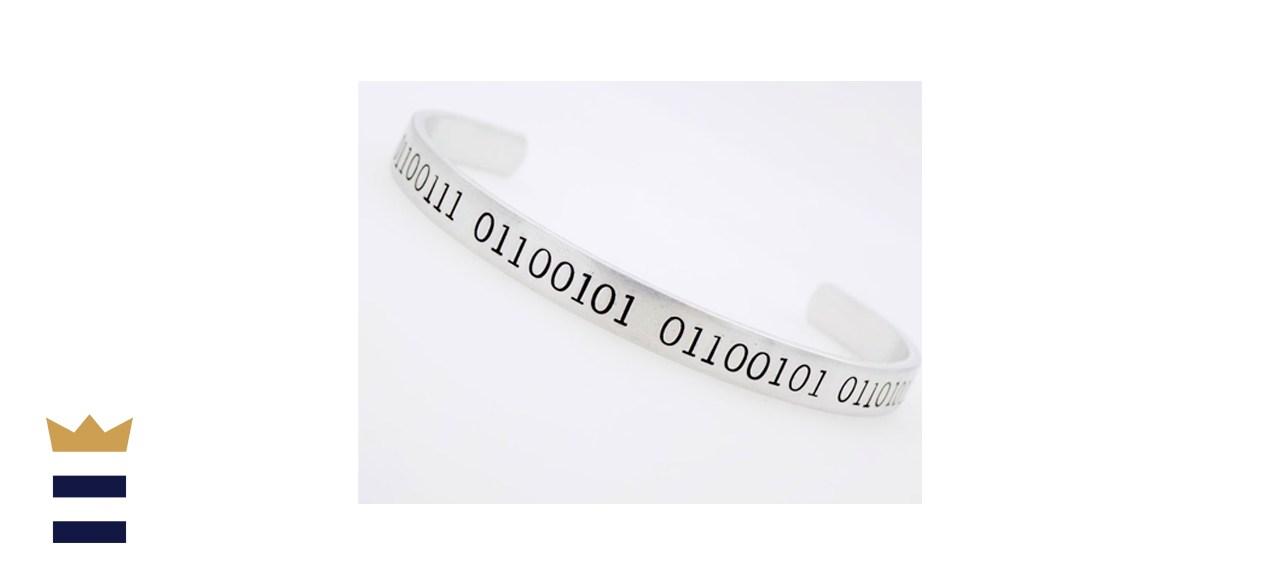 Binary Jewelry Handstamped Cuff