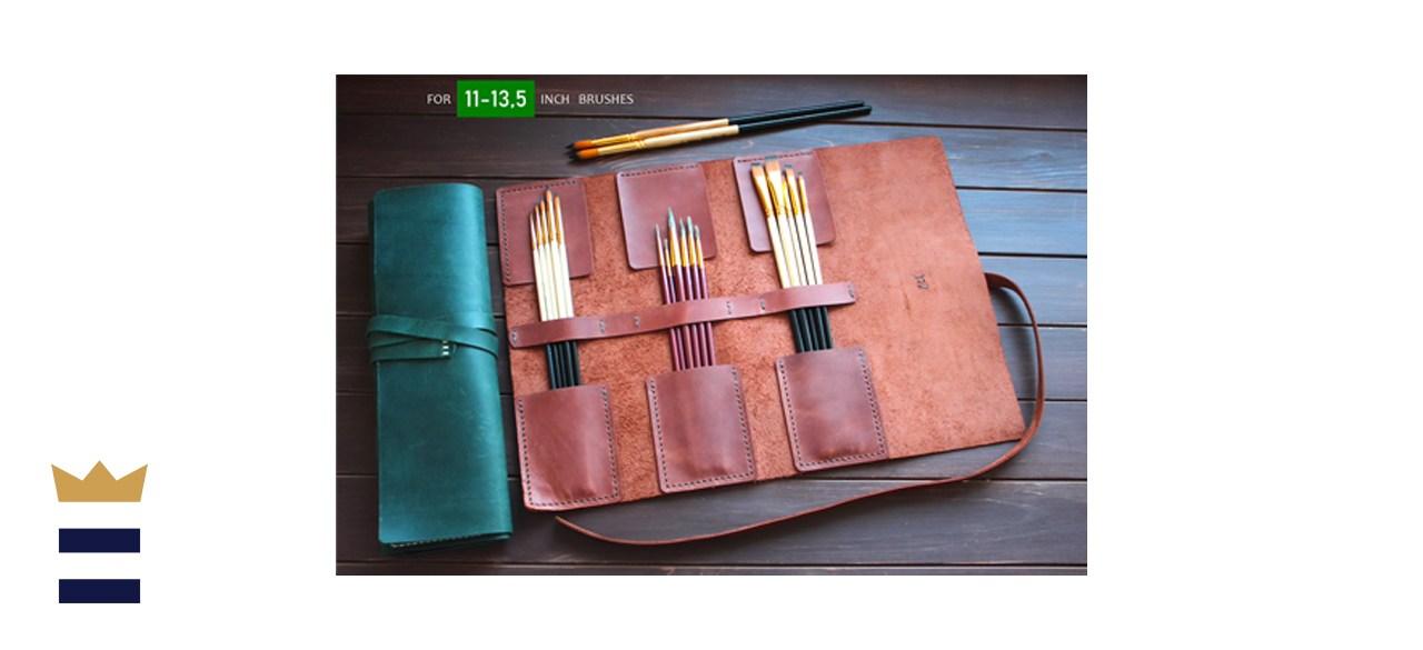 Handmade Leather Paint Brush Roll