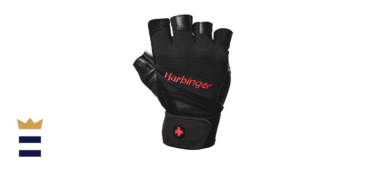 Harbinger Pro Wristwrap Weightlifting Gloves