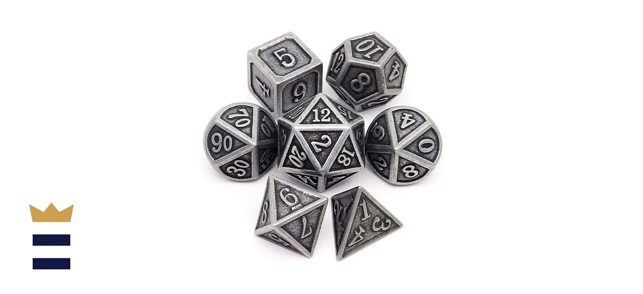 Haxtec Seven-Piece Finished Metal Bundled Polyhedral DnD Dice Set in Antique Iron