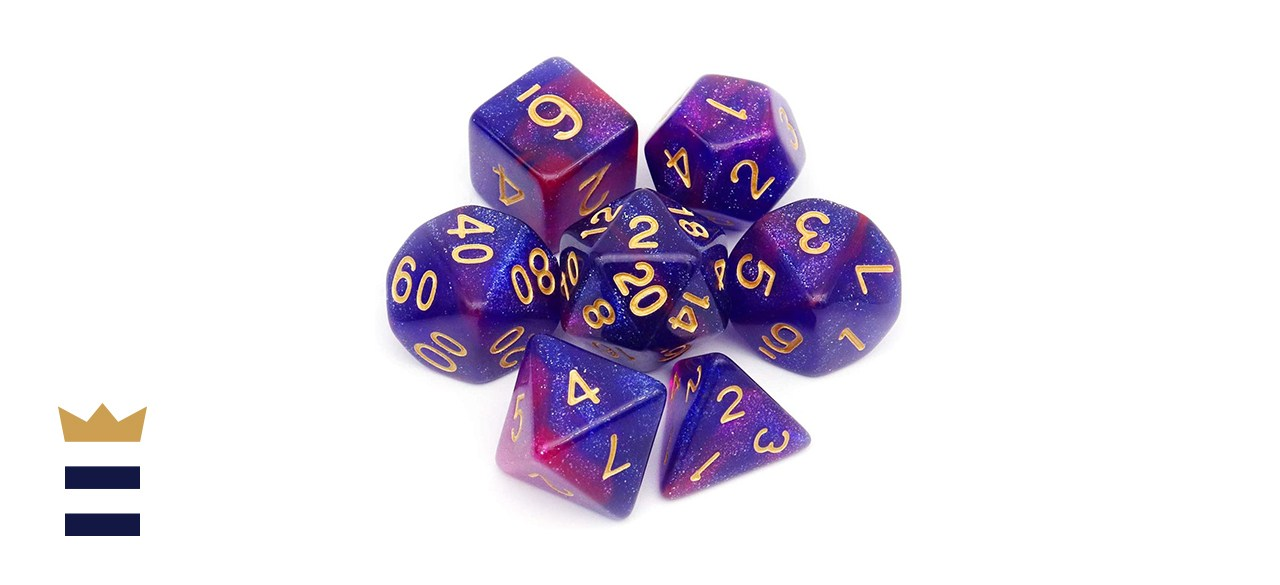 Haxtec Seven-Piece Tabletop Game Polyhedral DnD Dice Set in Blue Purple Nebula