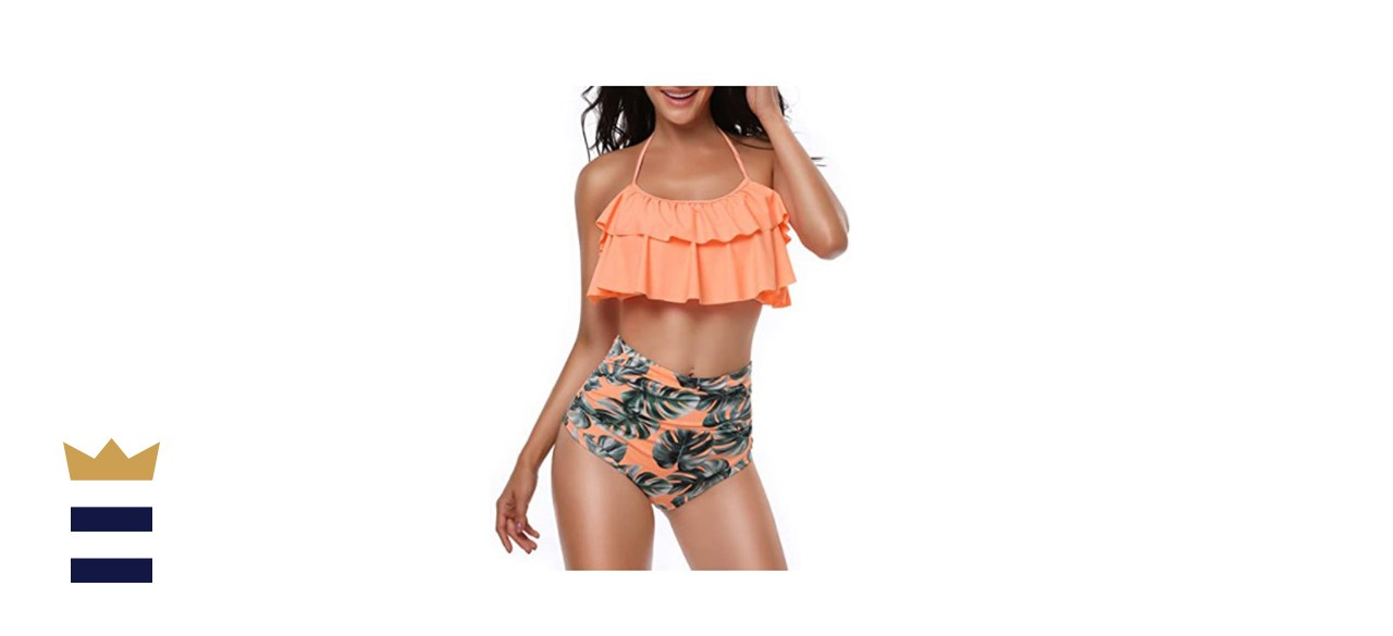 Heat Move Women's Retro Flounce High Waisted Bikini