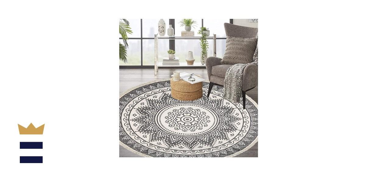 Hebe 6 Foot Large Washable Cotton Round Chic Bohemian Mandala Printed Tassel Area Rug