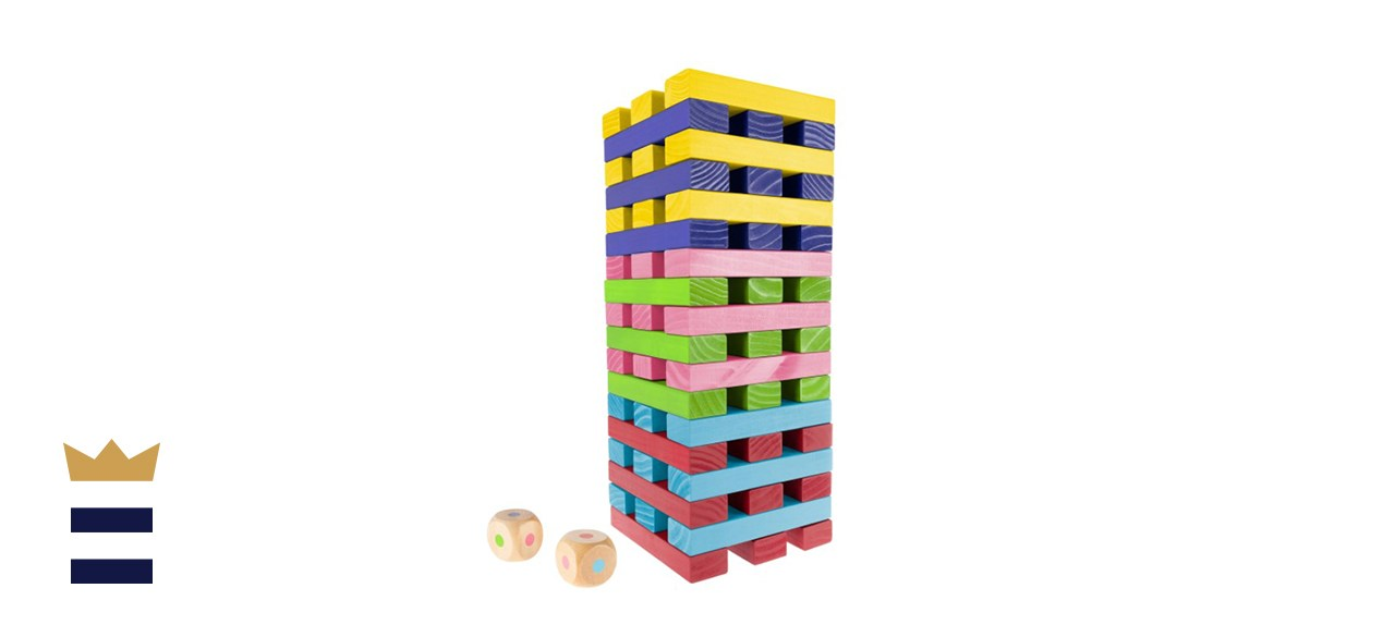 Hey! Play! Nontraditional Giant Wooden Blocks Tower Stacking Game