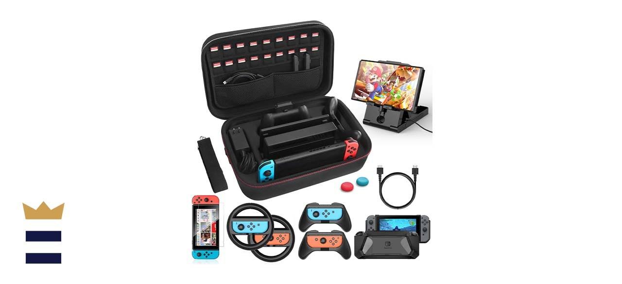 HEYSTOP 12-in-1 Nintendo Switch Case Accessories Kit