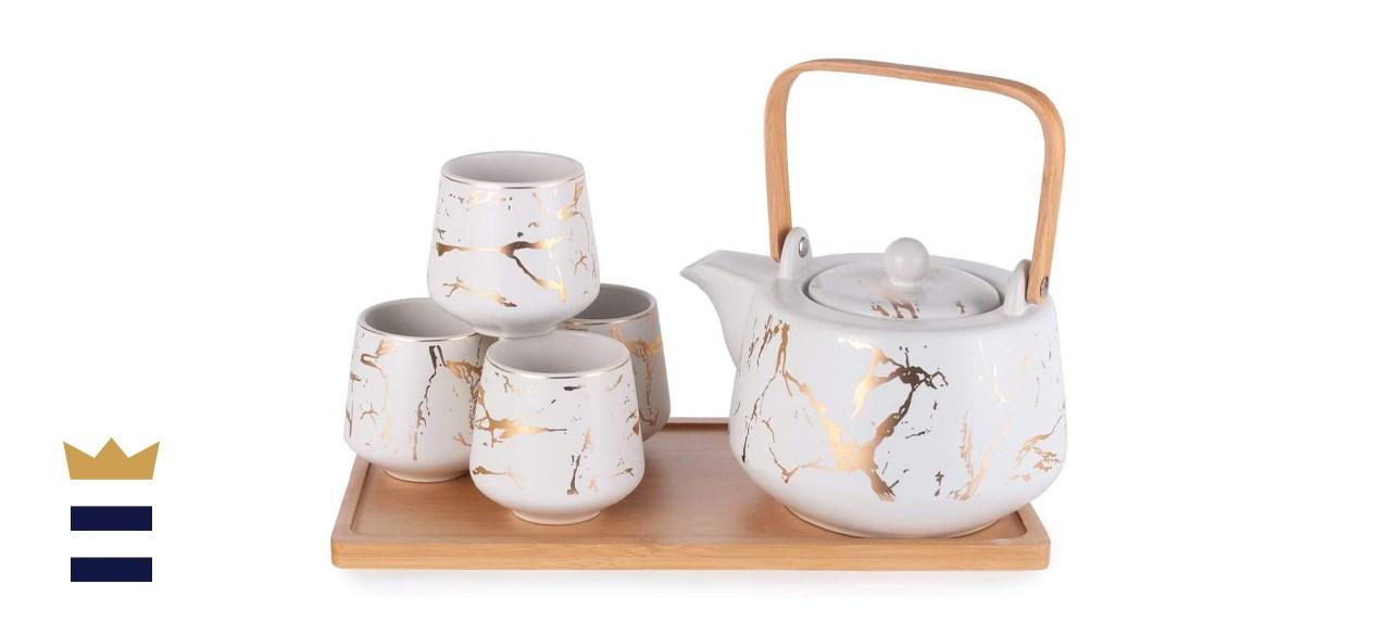Hinomaru Collection Modern Style Marble Design Porcelain Tea Set