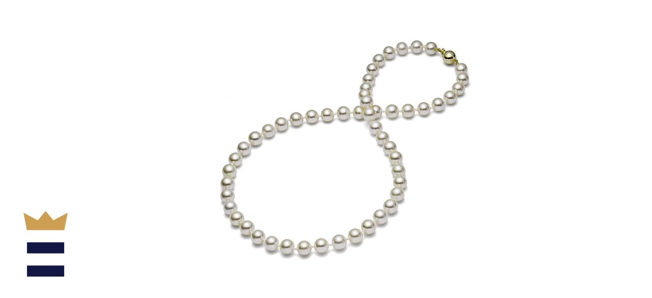 HinsonGayle AAA GEM Collection White Round Freshwater Cultured Pearl Necklace