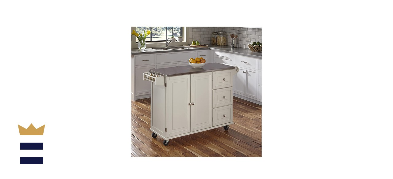 Home Styles Off-White Kitchen Cart with Stainless Steel Cart