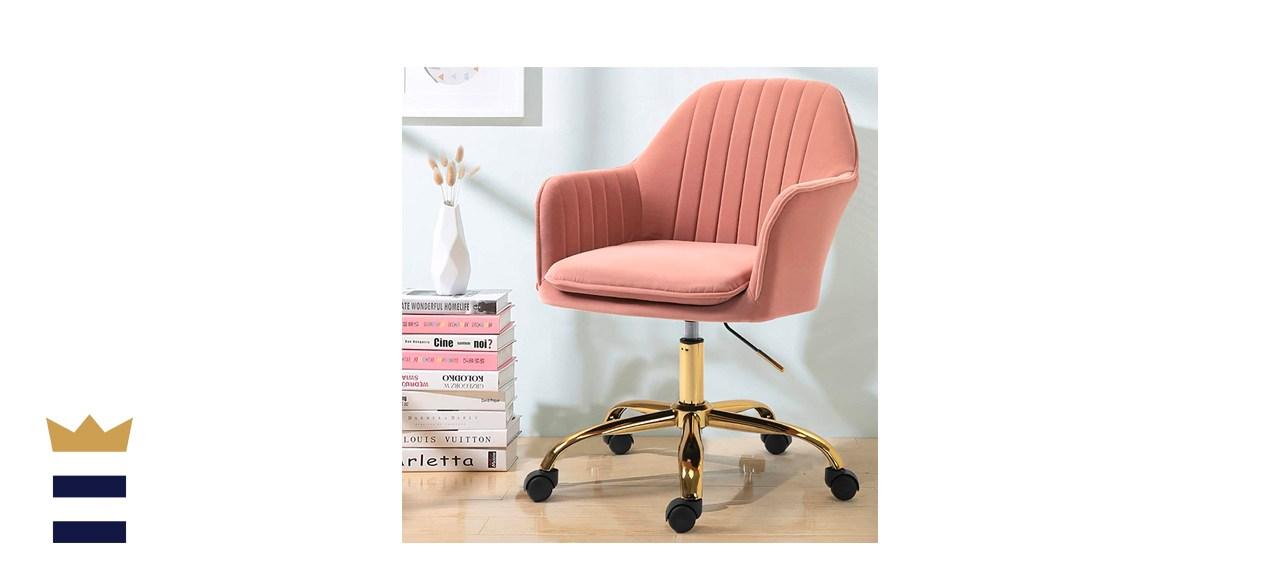 HOMHUM Modern Velvet Home Office Computer Desk Task Chair with Wheels
