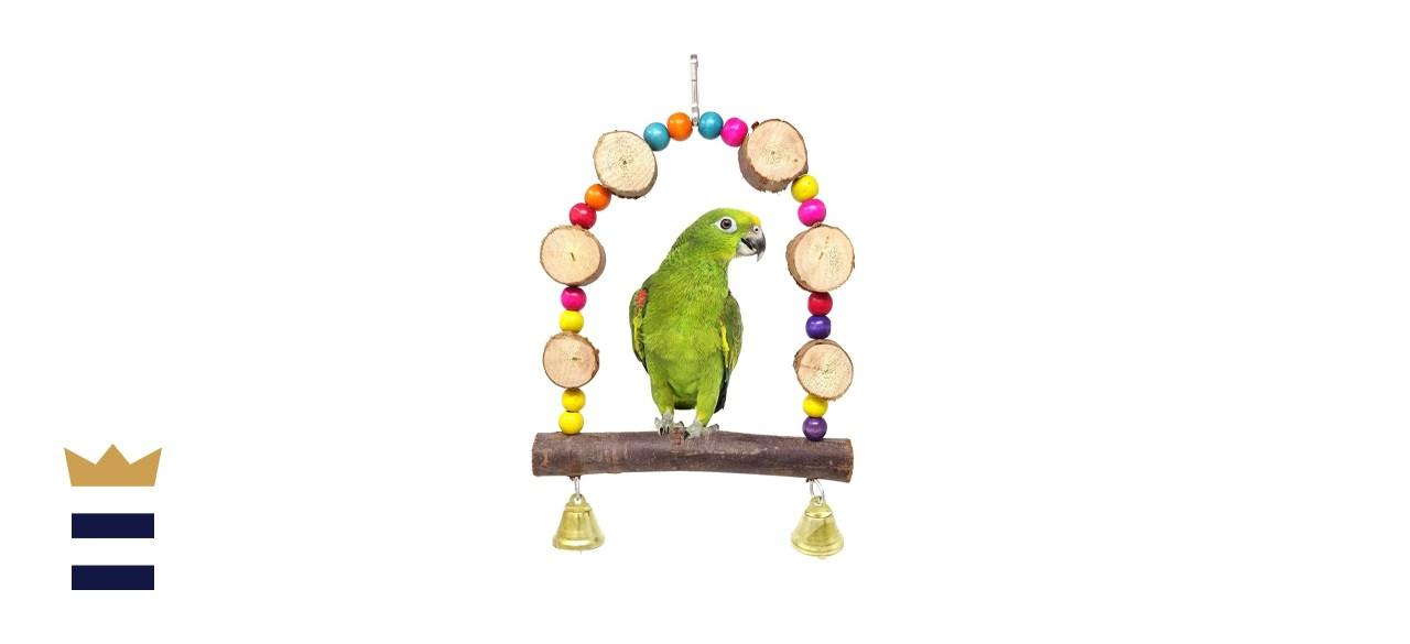 HONBAY Wooden Bird Swing