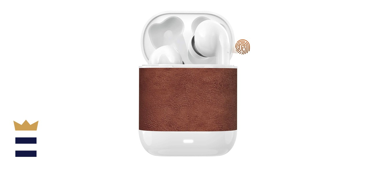 HWCONA IPX8 Retro Leather True Wireless Earbuds with Charging Case