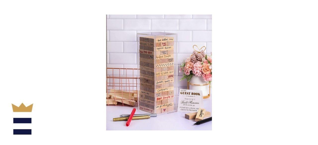 Idea Nova Inc Wooden Block Wedding Guest Book