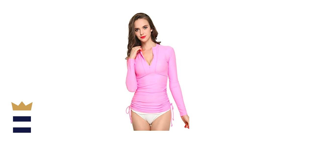 ilishop Women's UV Sun Protection Long Sleeve Rash Guard Wetsuit Swimsuit Top