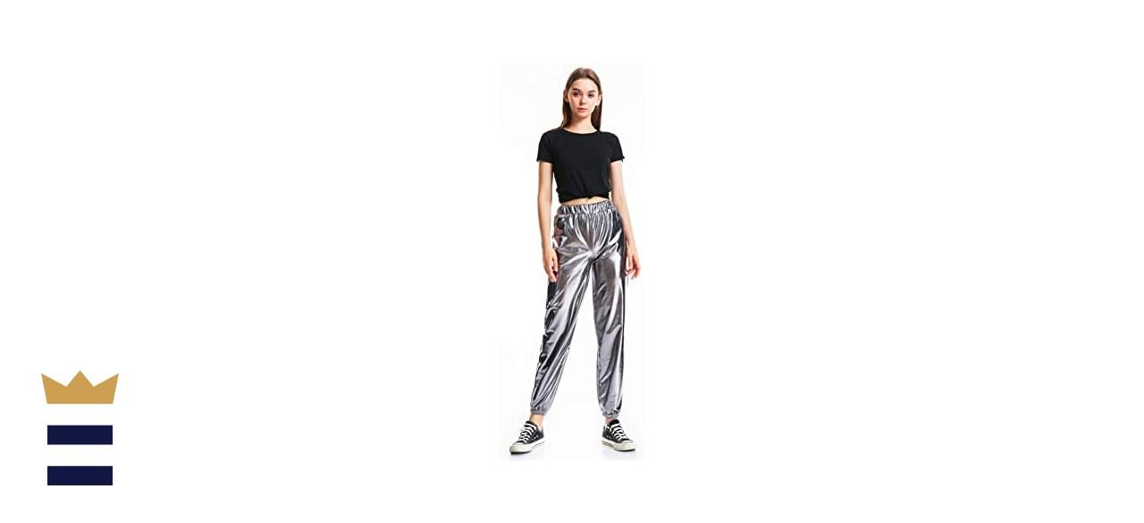INDJXND Womens Metallic Shiny Jogger Pants