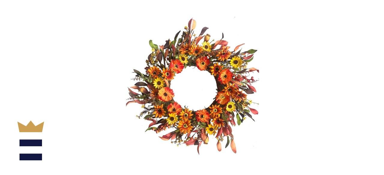 J'Floru Artificial Fall Floral Wreath